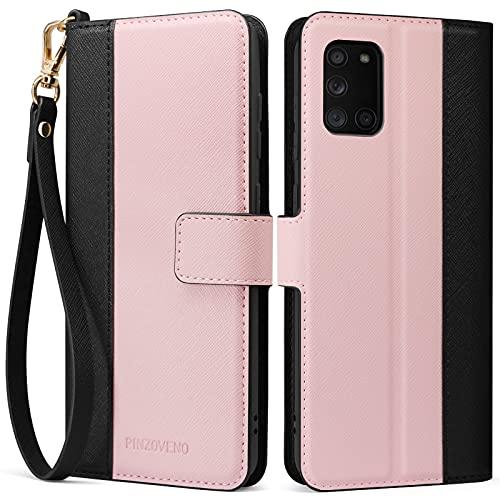 Pinzoveno Handyhülle für Samsung A31 Hülle Premium PU Leder Schutzhülle Abdeckung Tasche Flip Hülle Brieftasche Etui Schutzhülle für Galaxy A31 (6,4 Zoll) Rosa