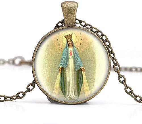 Nuestra Señora del Milagroso Medalla Collar Colgante de Virgen María Joyería Charm Joyería de Cristal Foto Joyería