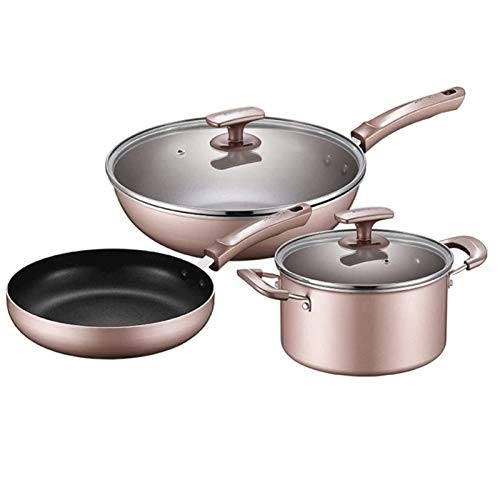 Conjunto de Cacerolas Antiadherentes Conjunto de utensilios de cocina Set3-pieza Sistema de vapor de aleación de aluminio Conjunto de tapa de vidrio templado Mango cómodo adecuado para gas y cocina de