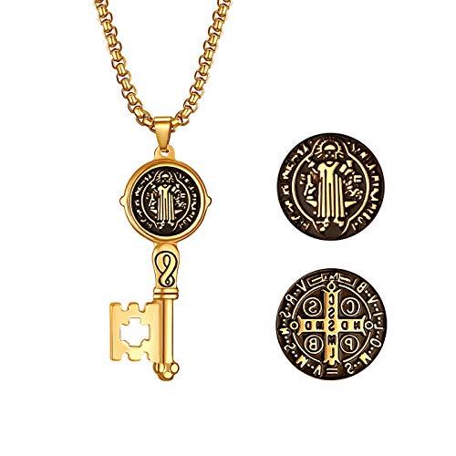 JewelryWe - Collar con medalla de San Benito, colgante con cruz católica, protección, sorcismo, de acero inoxidable, forma de llave, color plateado y dorado