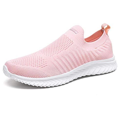 IceUnicorn Laufschuhe Damen Turnschuhe Straßenlaufschuhe Leichte Trainer Fitness Sneaker Atmungsaktiv Sportschuhe(5#Pink, 39EU)