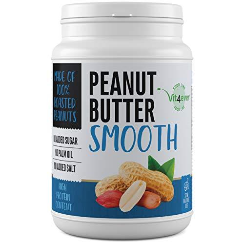 Erdnussbutter Smooth - Einführungspreis - 1kg natürliche Peanutbutter Ohne Zusätze - 30% Proteingehalt - Erdnussmus ohne Zusätze von Salz, Öl oder Palmfett - Vegan