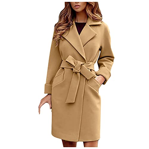 SumLeiter Damen Boucle Wollmantel mit Gürtel Mode Revers Wolljacke elegant Winter warme mantel mode Vintage Wintermantel elegant Winterjacke mit Kapuze Warm übergangsmantel Outwear