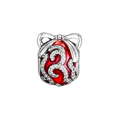 LIIHVYI Pandora Charms para Mujeres Cuentas Plata De Ley 925 Joyas Orna Rojo Brillante Real Compatible con Pulseras Europeos Collars