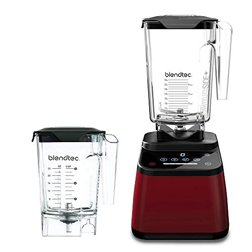 Blendtec Designer 625 Blender - WildSide+ Jar (90 oz) and Mini WildSide+ Jar (46 oz) BUNDLE - Professional-Grade Power - 4 Pre-Programmed Cycles - 6-Speeds - Sleek and Slim - Pomegranate