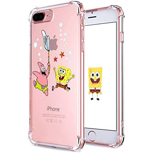 Hiiyorr Patrick Sponge TPU Case for iPhone 8 Plus/7 Plus,Funny Cute Clear Ultra-thin Pattern Character Protective Cover for Girls Kids Teens, Cartoon Fun Cool Bumper Skin for iPhone 8 Plus/7 Plus 5.5'