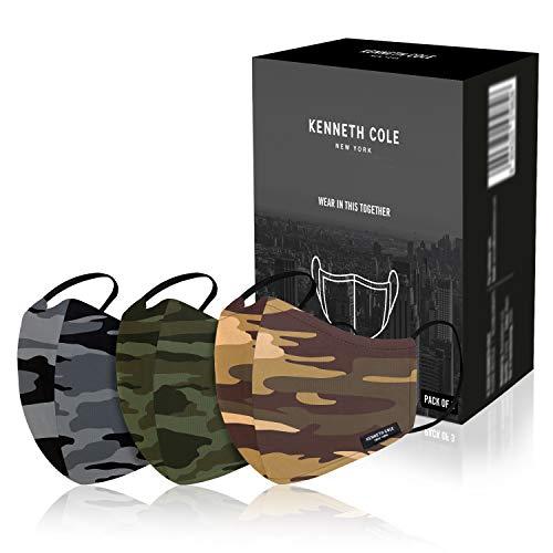 Kenneth Cole Camouflage Unisexe 100% Coton Anti Pollution Anti Chaleur Anti-Poussière Masque Masque Extérieur Réutilisable 6 Couches (Pack De 3) |Camouflage|