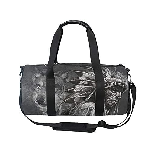 Bolsa de deporte para gimnasio, Wolf American Indian Chief Swim Sports Travel Gym Bag con compartimento para zapatos y bolsillo húmedo para mujeres o hombres