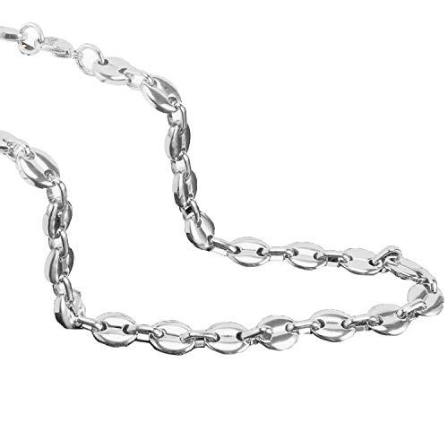 AURSTORE® Chaine pour homme acier inoxydable maille graine de café largeur 56cm (argenté, 6)