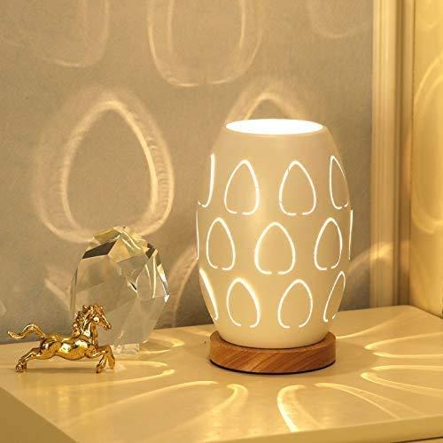 Luces de la noche Tabla dormitorio de la lámpara lámpara de cabecera de madera maciza de luz de la noche de control remoto de ahorro de energía llevó la pequeña luz de la noche Dim-Out interruptor WHI