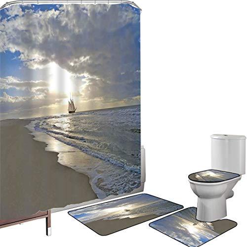 Juego de cortinas baño Accesorios baño alfombras Náutico Alfombrilla baño Alfombra contorno Cubierta del inodoro Un velero cerca de la playa de arena en Moody Sunset Paradise Tropical Theme,Azul Beige