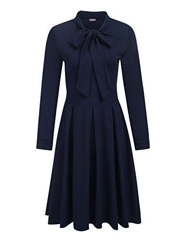 Damen Elegant Retro Vintage Rockabilly Kleid Abendkleid Cocktailkleid Partykleid Herbst Winter...