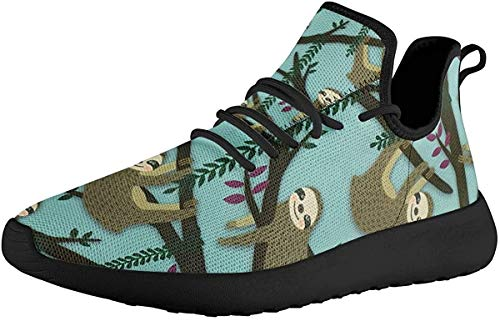 ZERODATE Knitting Sneaker for Running Race,Cute Sloth Pattern Classical Shoes for Outdoor...