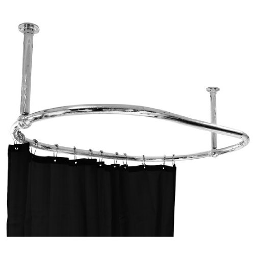 Luxury Oval Shower Curtain Rod Ceiling Mounted for Clawfoot Tub Freestanding Curtain Rail Heavy Duty in Chrome Finish with Free Matching Curtain Ring - 45 x 25 Inch
