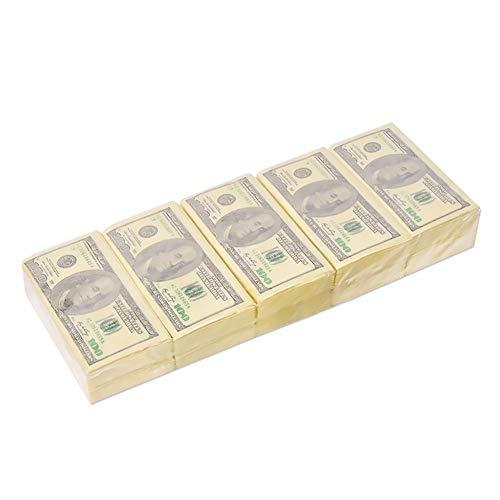 NaiCasy 5 stuks US Dollar servetten Funny Money servetten ruw hout poederweefsel papieren servetten voor feestjes