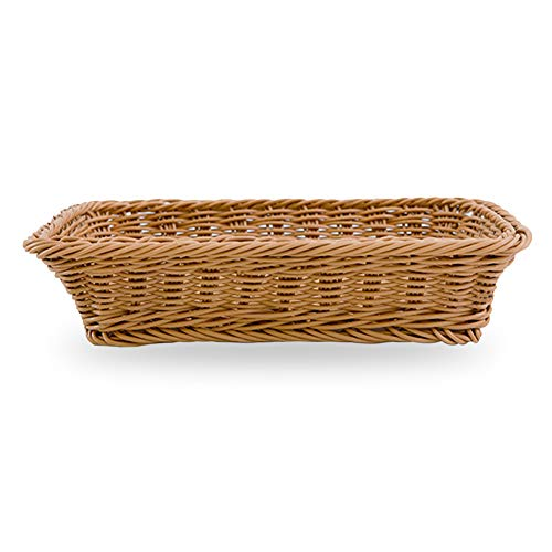 Lavable Rectángulo Imitación Ratán Pan Cesta - Comida para Servir Cestos - Restaurante para Servir/Pantalla Cestos - para Fruta Comida Verduras - Como Imagen Show, 30x20x6cm