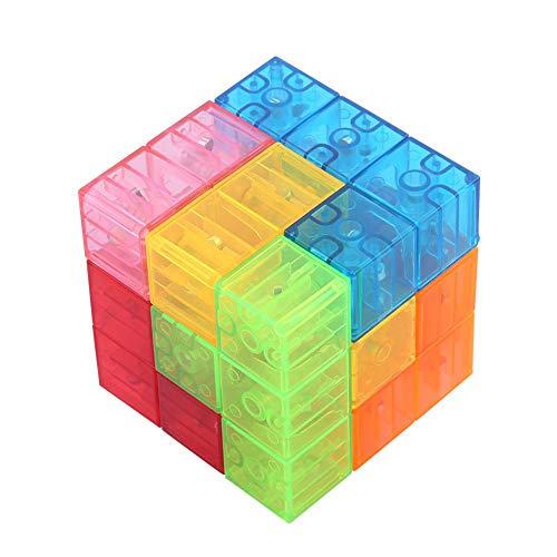 Dilwe Cubo Mágico, 3x3x3 Puzzle de Cubo Magnético Twist Bloques de Construcción Magic Cube El Alivio del Estrés Assembled Speed Cube Juguete para Niños Juego de Entrenamiento Cerebral (Translúcido)