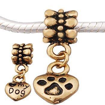 Andante-Stones 14K Gold Dangle Bead Love My Dog Herz mit Pfote - Element Kugel für European Beads Modul Armband + Organzasäckchen