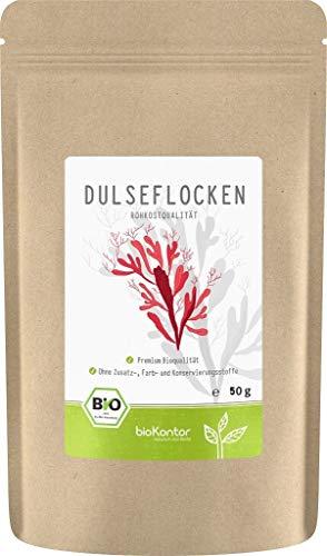 BIO Dulse Flocken 50g aus dem Atlantik | Dulse Algen aus Wildsammlung | 100% naturrein - Rohkost | vegan | palmaria palmata für Detox-Smoothie | Dulse von bioKontor