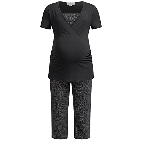 Herzmutter Pijama Corto para Embarazadas - Pijamas de enfermería - Pijama de Maternidad - Algodón - Motivo - 2900 (M, Gris/Punto)
