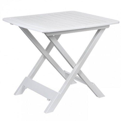 DRULINE klappbarer Campingtisch Beistelltisch aus Kunststoff (Weiß) 43 cm x 45 cm x 50 cm