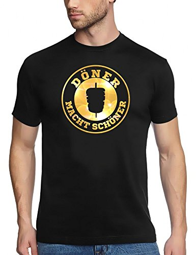 DÖNER T-Shirt ! Döner Macht schöner ! Döner Kebab Imbiss T-Shirt schwarz-Gold Gr.S