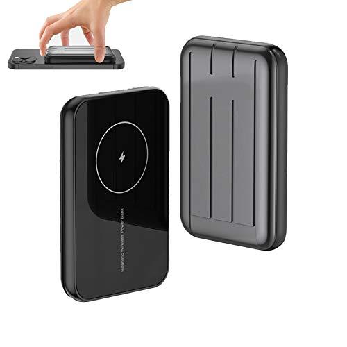 Caja De BateríA MagnéTica, Banco De EnergíA InaláMbrico De 5000 Mah, Carga RáPida InaláMbrica De 15 W, Compatible Con Iphone 12 Mini / 12/12 Pro / 12 Pro Max, Etc. (Uno) (Gris)