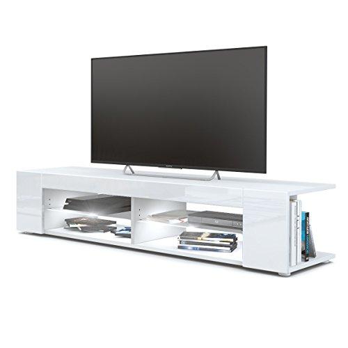 Vladon TV Board Lowboard Movie, Korpus in Weiß matt/Fronten in Weiß Hochglanz inkl. LED Beleuchtung in Weiß