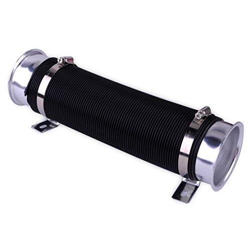 beler Silver & Black Adjustable 3 inch Car Cylinder Cold Air Intake Pipe Inlet Hose Tube Duct