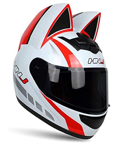 SVIVE Casco De Motocicleta De Gato Personalizado para Adultos, Hombres Y Mujeres Fresco Cat Locomotora Motocicleta Casco Estándar