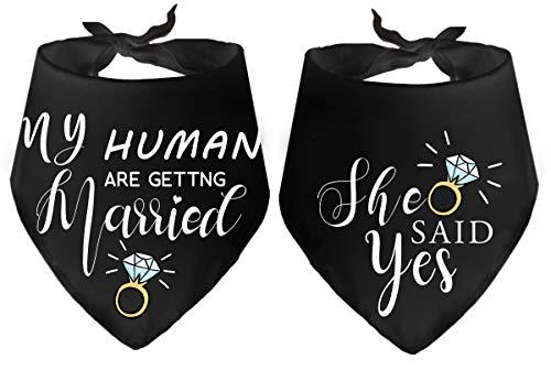 Yangmics Direct My Humans are Getting Married she Said yes Dog Bandanas