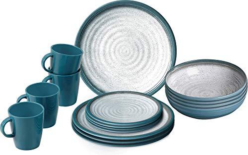 BRUNNER 0830155N.C5T Geschirrset, Blau, Grau, Set of 16
