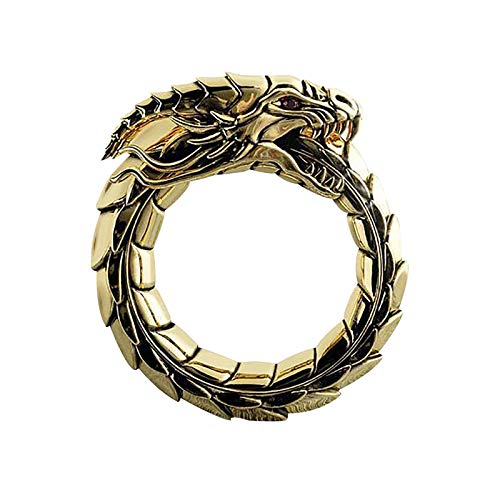 Retro Fashion Gothic Men's Ring Dragon Ring Unisex Vintage Black Gothic Men Creative Personalized Adjustable Rings Mens Adjustable Rings Stainless Steel(B,Silver)