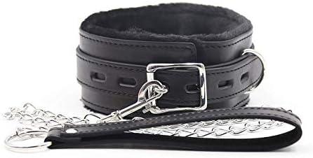 Kit de correa de diseño de hebilla de cuello de felpa ajustable de cuero negro