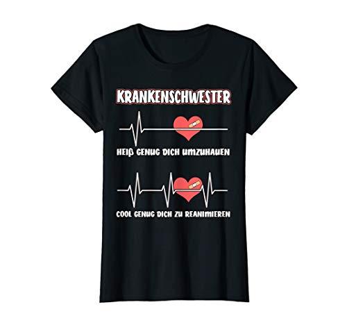 Damen Krankenschwester Herzschlag lustiger Spruch T-Shirt