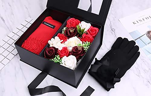 Zeep bloem geschenkdoos Creatieve nieuwigheid Kerstcadeau Vriendin verjaardag cadeau met sjaal handschoenen Figuur 3