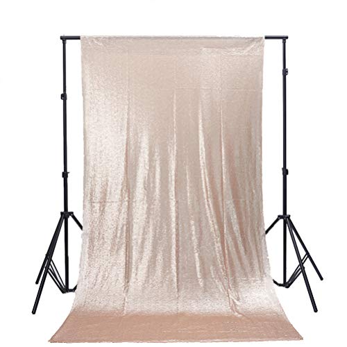 TRLYC 5FT x 9FT Champagne Sequin Backdrop Fabric Party Wedding Photo Booth Backdrop