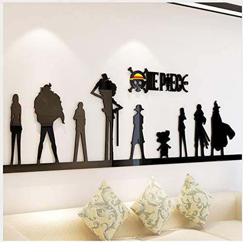 Cartoon Anime One Piece 3D Wandaufkleber Acryl Wohnzimmer Sofa Hintergrund Wanddekorationen Schlafzimmer Schlafsaal Schlafzimmer Aufkleber 100x30cm