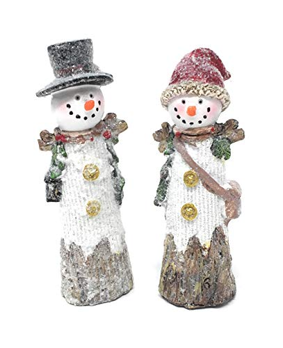Hanna's Handiworks Set of 2 Snowdrift Snowman Couple Tabletop Decorations for Winter Holidays with Stick Arms (2 Pc Button Snowman Set)
