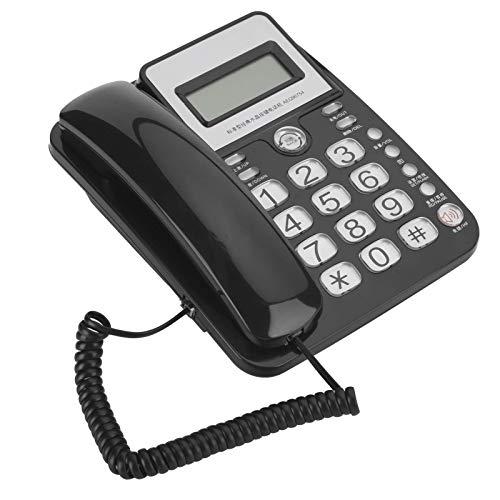 AEQ96754 teléfono con cable con identificación de llamadas, teléfono de escritorio con botón grande, teléfono con cable de una sola línea, teléfono fijo LCD para oficina en casa