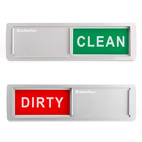 KitchenTour Clean Dirty Magnet for Dishwasher Upgrade Super Strong Magnet - Easy to Read Non-Scratch Magnetic Silver Indicator Sign with Clear, Bold & Colored Text
