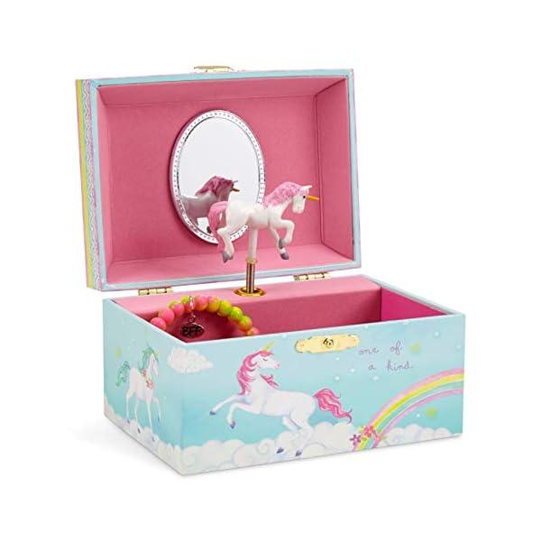Jewelkeeper Girl's Musical Jewelry Storage Box with Spinning Unicorn, Rainbow Design, The Unicorn Tune 3