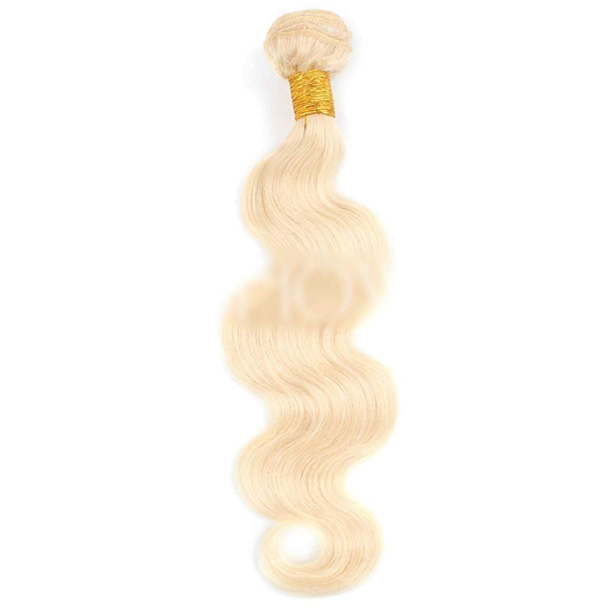 HOHYLLYA ブロンドの人間の髪織りバンドル本物のRemyナチュラルヘアエクステンション横糸 - ボディウェーブ - #613ブロンド(100g / 1バンドル、10インチ-26インチ)合成髪レースかつらロールプレイングウィッグロング&ショート女性自然 (色 : Blonde, サイズ : 24 inch)