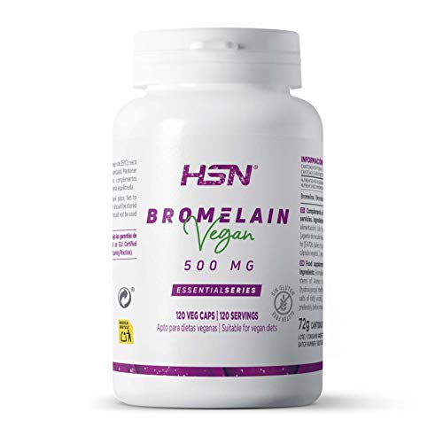 Bromelina de HSN | 500mg | Enzimas Digestivas, 2500 GDU/g | 100% Natural A partir de la Piña para Digestión de Proteínas | Suministro 2 Meses | Vegano, Sin Gluten, Sin Lactosa, 120 Cápsulas Vegetales