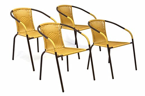 Nexos Bistrostuhl Stapelstuhl Balkonstuhl Rattanstuhl Gartenstuhl Terrassenstuhl – Poly-Rattan Stahlgestell – pflegeleicht robust stapelbar – beige