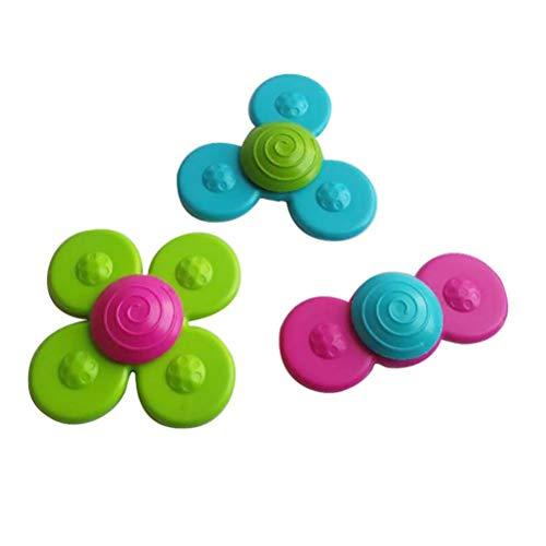 Passer Taza de succión giratoria, 3 piezas de juguete giratorio con ventosa para el baño de la punta de los dedos del bebé, juguete giratorio para educación temprana