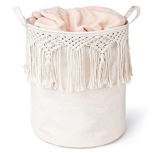 Mkono Cesta de lavandería de macramé con borla de macramé, organizador de juguetes para guardería, sala de estar, dormitorio, cuarto de baño