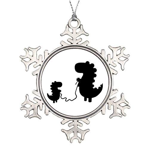 qidushop Adornos navideños de metal con diseño de dinosaur