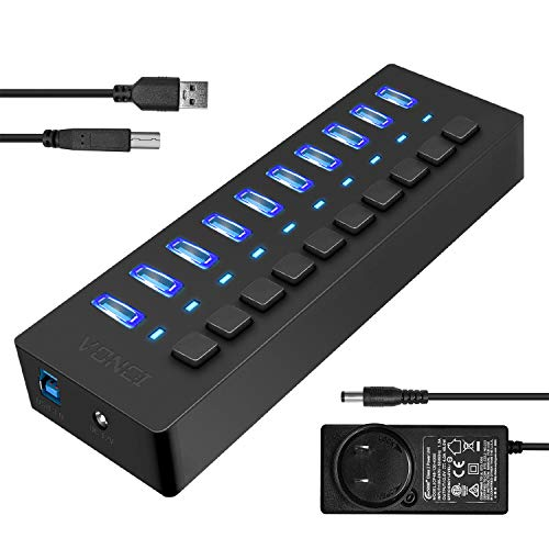 usbポート usb hub VONCI USB3.0ハブ usbハブ 5Gbps高速転送 10ポート ps4 usbハブ USB拡張 独立スイッチ付 ブラック