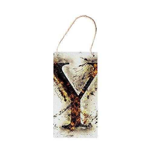 SIGNCHAT Holzschild, Buchstabe Y, zum Aufhängen, Großbuchstabe Y in Flammen, brennendes Grunge Gothic-Stil, konzeptuelles Modell von Alphabet Dekorationen, Holzschild, 12,7 x 25,4 cm